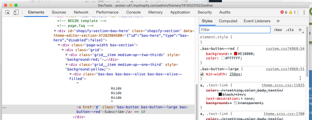 CSS classes are present in the HTML but don't appear in the inspector to the right