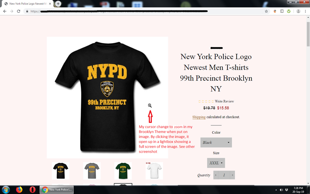1. Screenshot cursor on product page