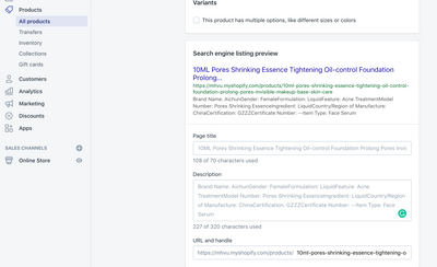 Edit SEO settings for a product page