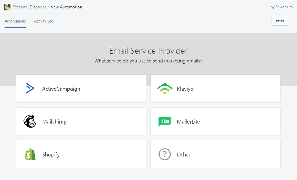 Personal Discount - select Email Service Provider