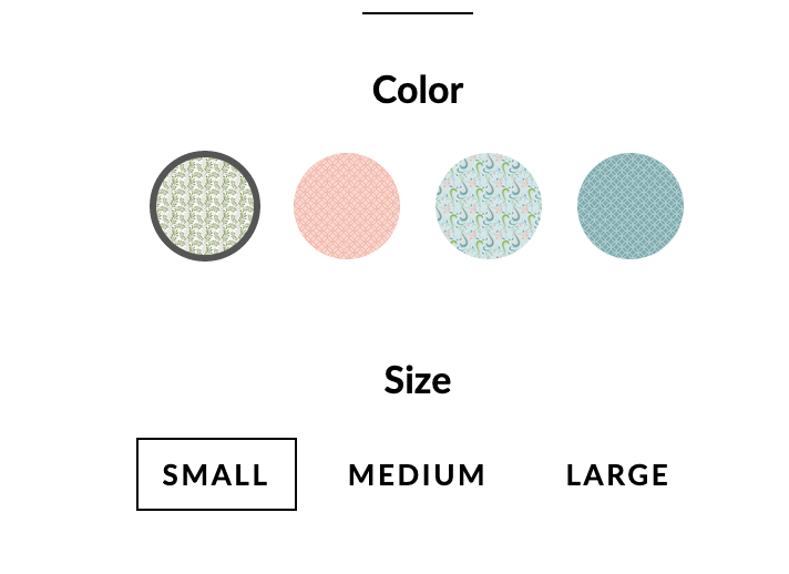 How can I add a the name of the color over the selection of the swatch ?