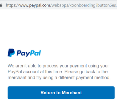 Error in paypal