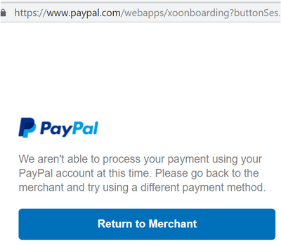Paypal throwing error