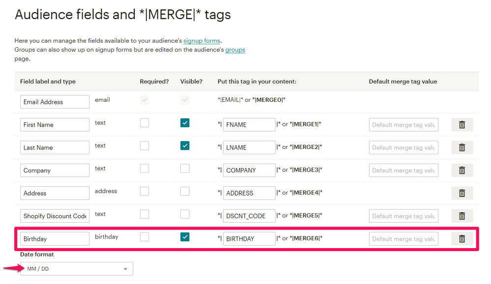 Birthday merge tag settings in Mailchimp