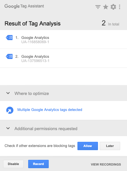 there are two Google Analytics accounts tracking the same store