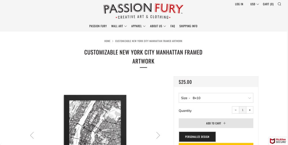 Listing before Personalize button is pressed
