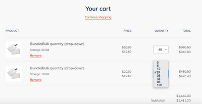 Incremental Quantity in the cart page