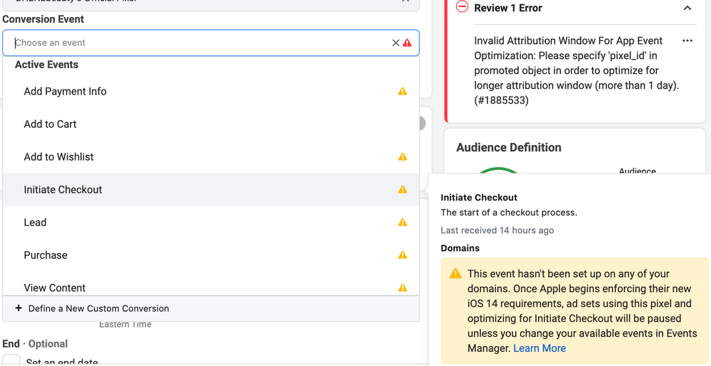 FB ad setup conversion tracking options. Only Add to Cart is working.