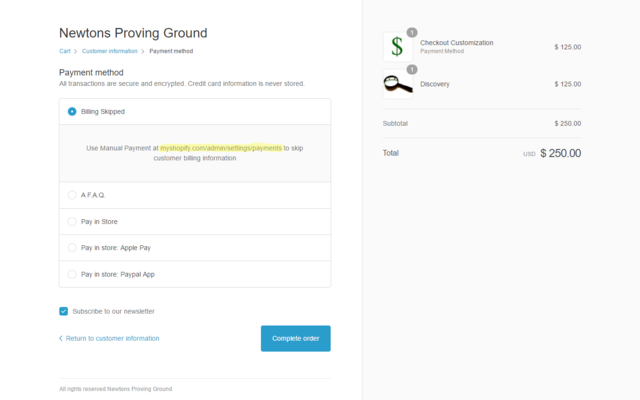 Remove Billing Information Form from the Cart-Cust