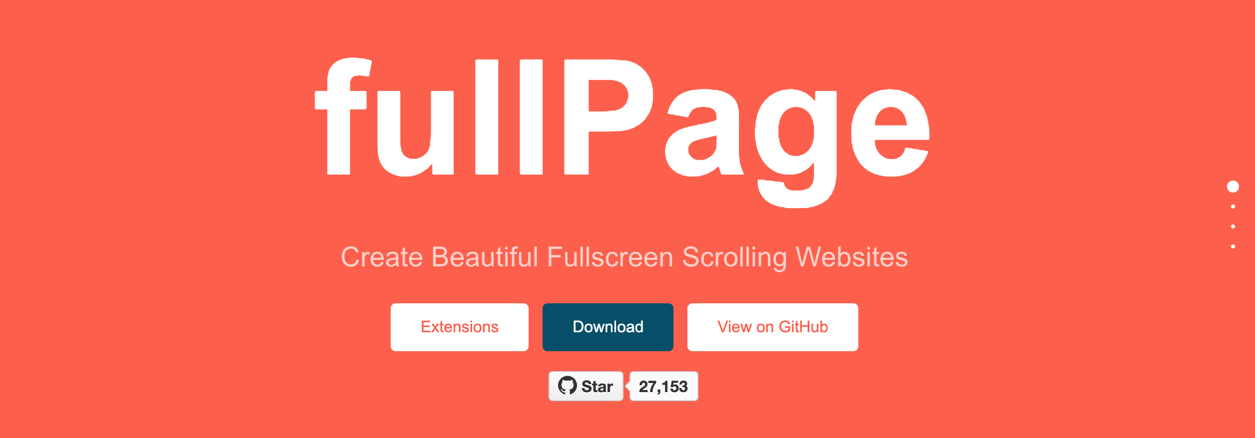 Page builder app to create a fullscreen scrolling