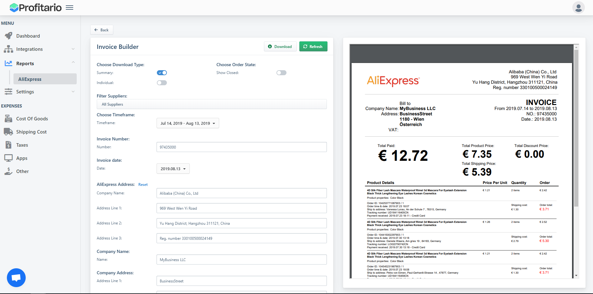 Solved: How to Generate AliExpress invoices for tax purpos