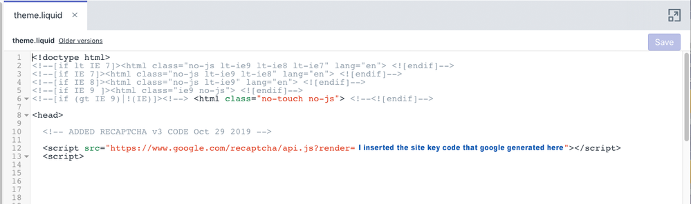 reCAPTCHAv3 code_theme.liquid page.png