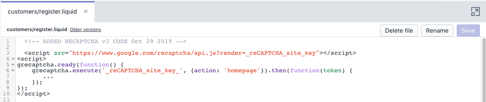reCAPTCHAv3 code for customer_registration page.png