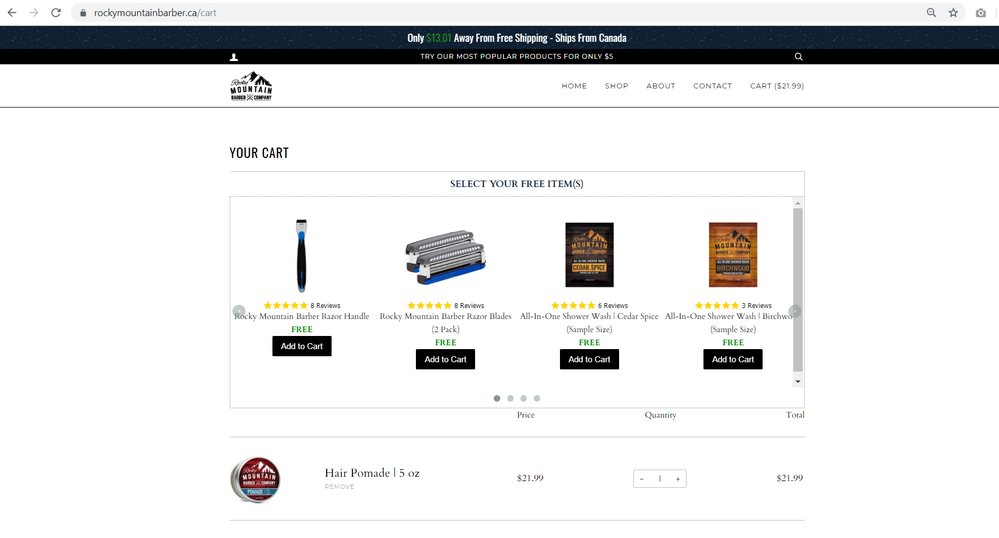 free sample widget cart page.png