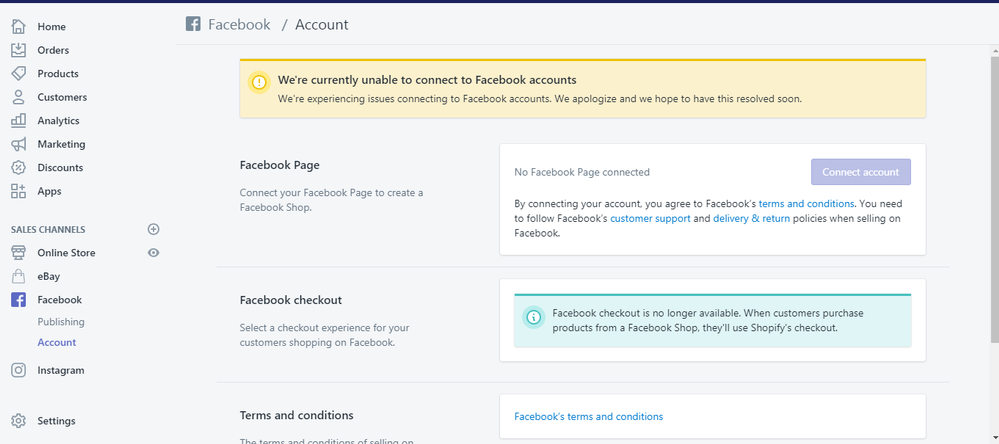 Cannot Connect Facebook Sales Channel - Shopify Community