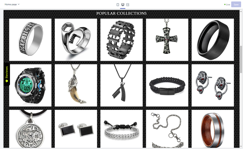 The theme allows up to 20 collections in the featured-collections grid on the homepage