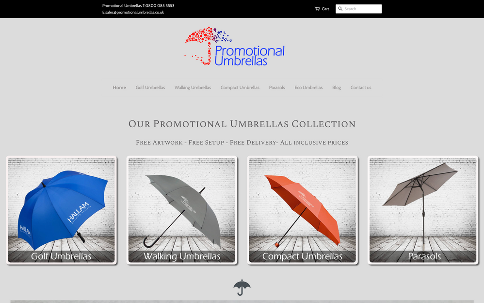 Current first fold design - Promotional Umbrellas