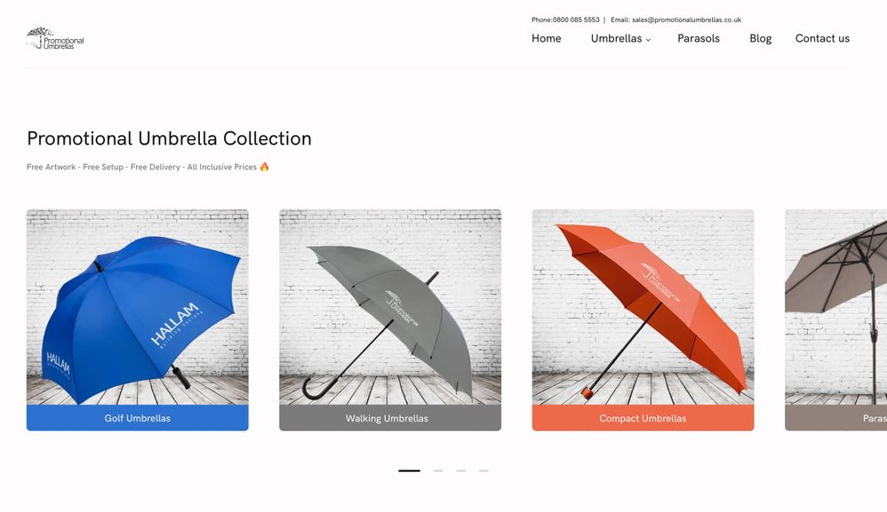 Suggested Update to First Fold - Promotional Umbrellas