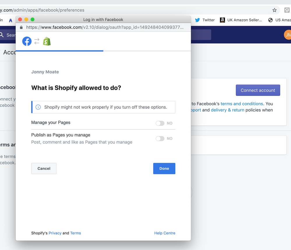 Connecting Facebook to Shopify account error / app